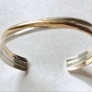 Jewelry - Sterling Silver And 14K Gold Filled Cuff Bangle